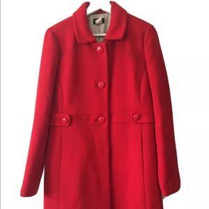 J Crew Knee Length Red Coat Size 10